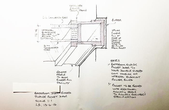 Section through sliding bronze door