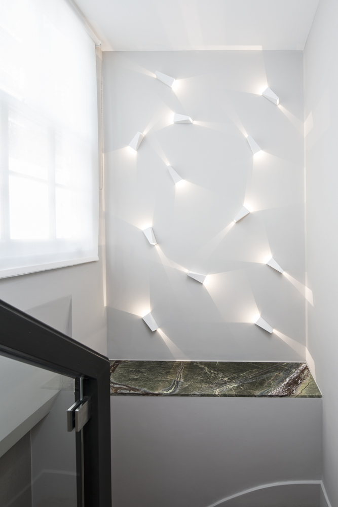 decorative lighting feature in stairway