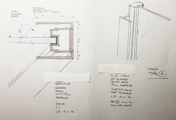 3D Sketch and Section Through Bronze Glazed Door
