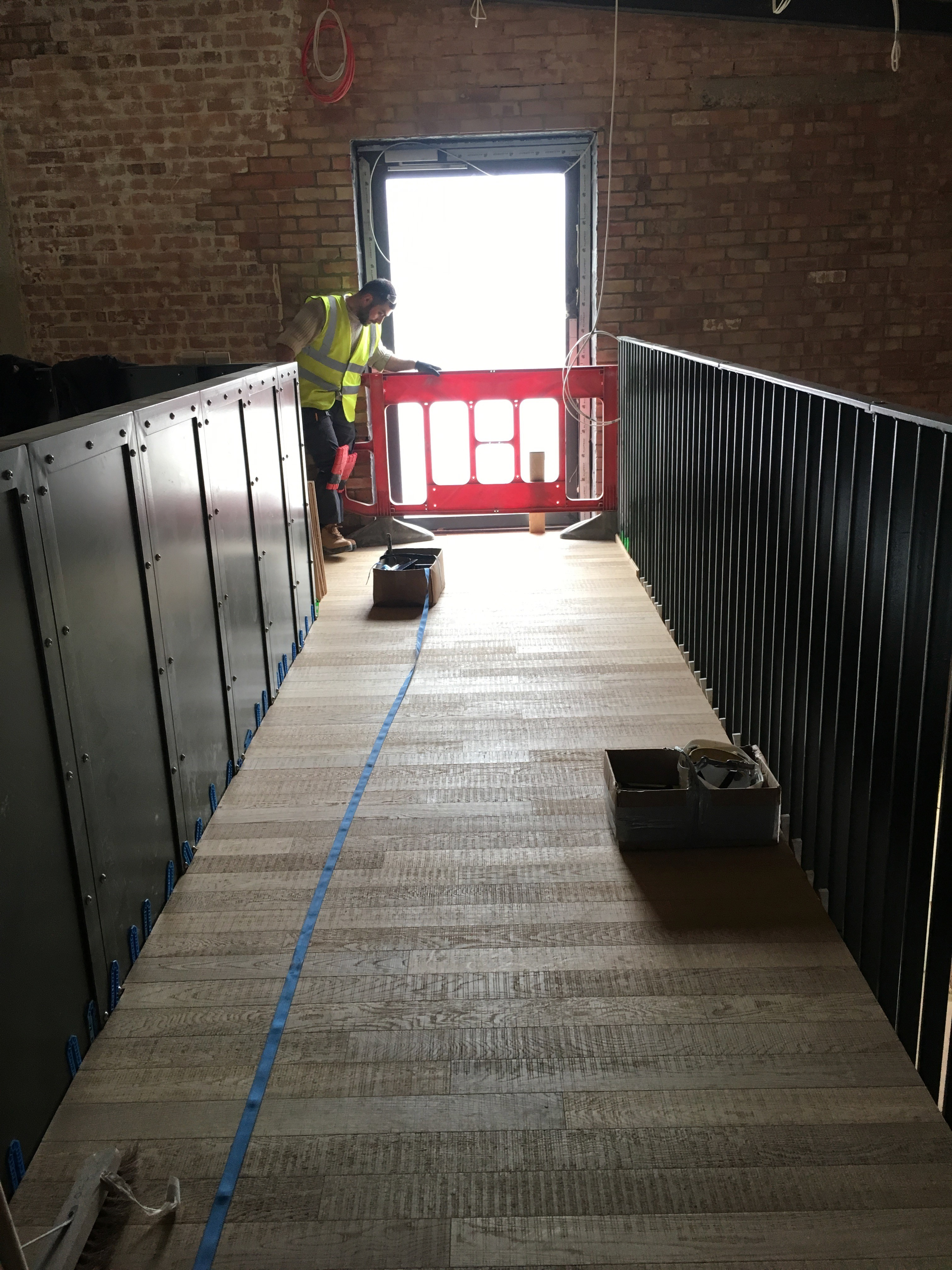 Band sawn bare timber in Brentford waterside Ballymore Development