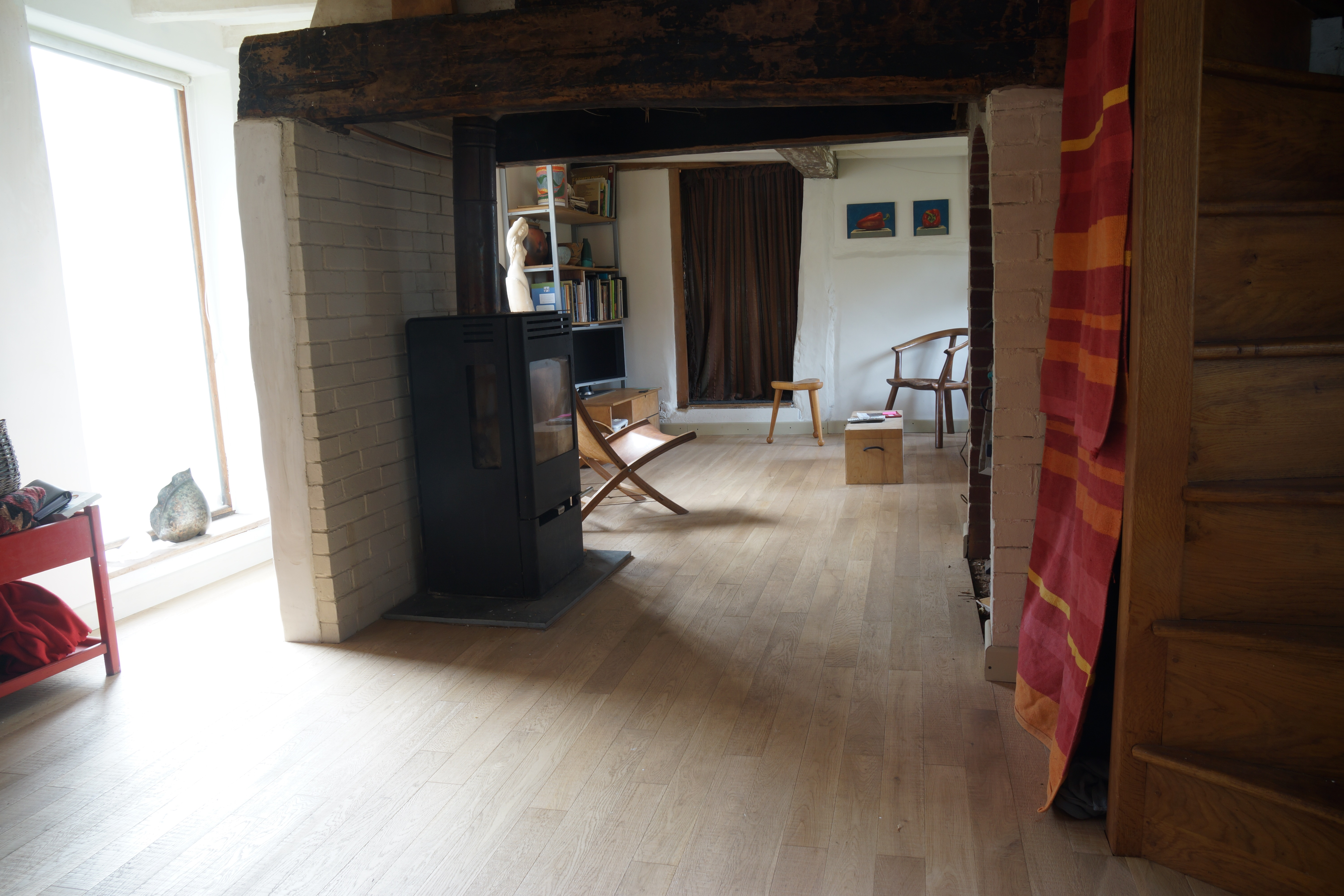 Band sawn white oak in a home with open plan living