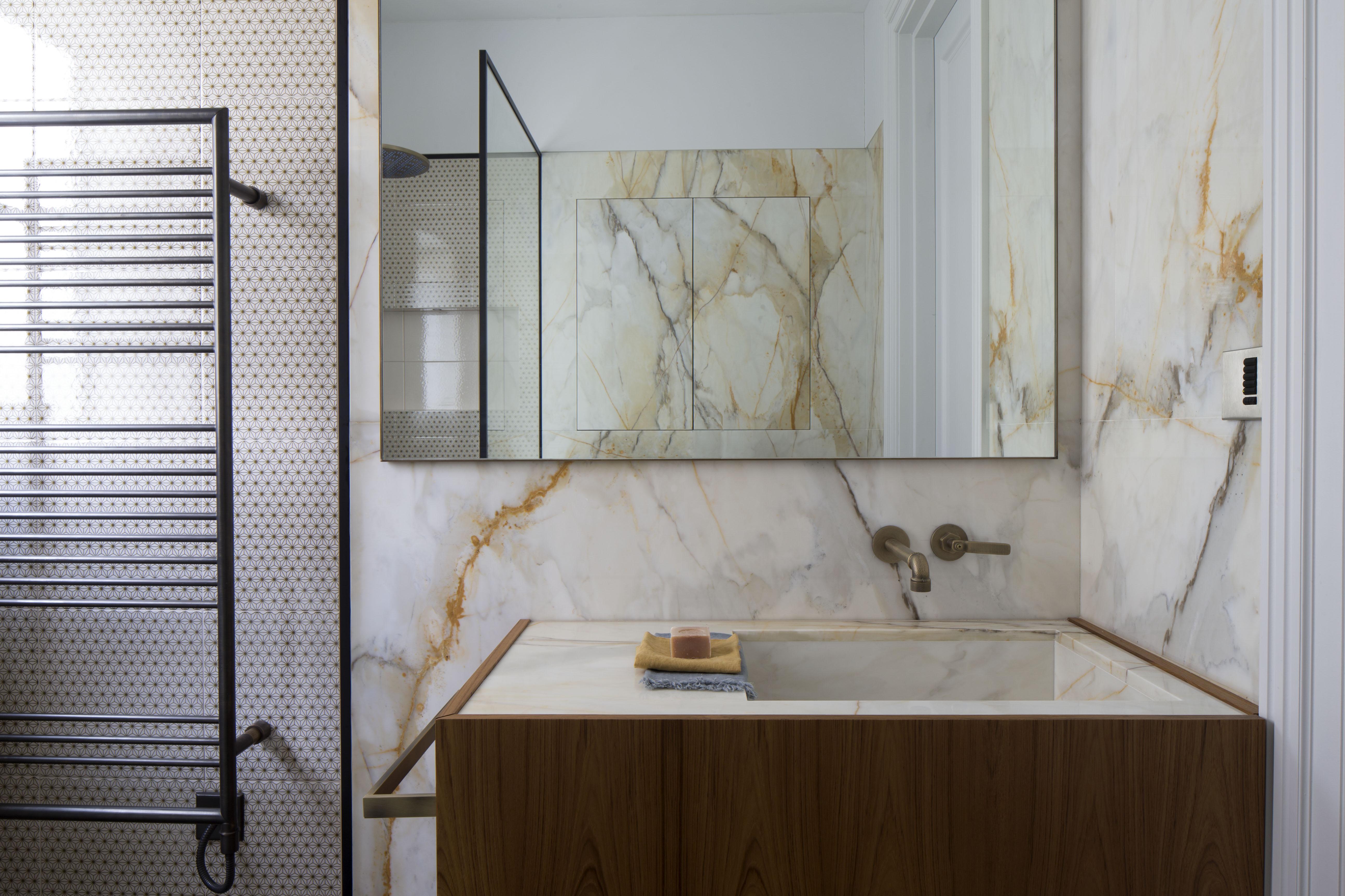 marble and teak bathroom vanity