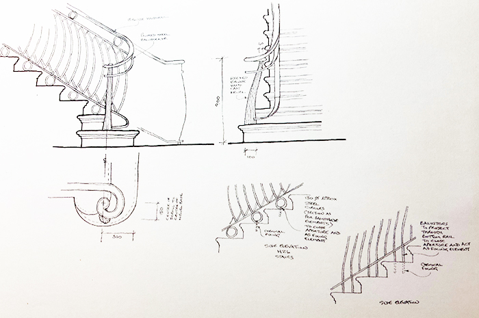 Bespoke staircase plan and elevations