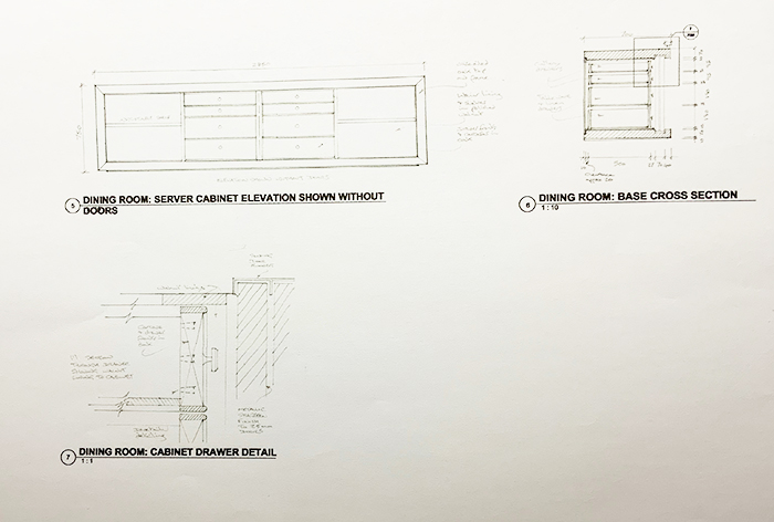 Cabinet Plan and Section with Drawer