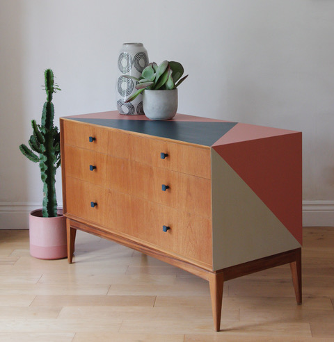 The House of Upcycling: Roc Studio Restored Mid Century Chest of Drawers with Geometric Surface Design