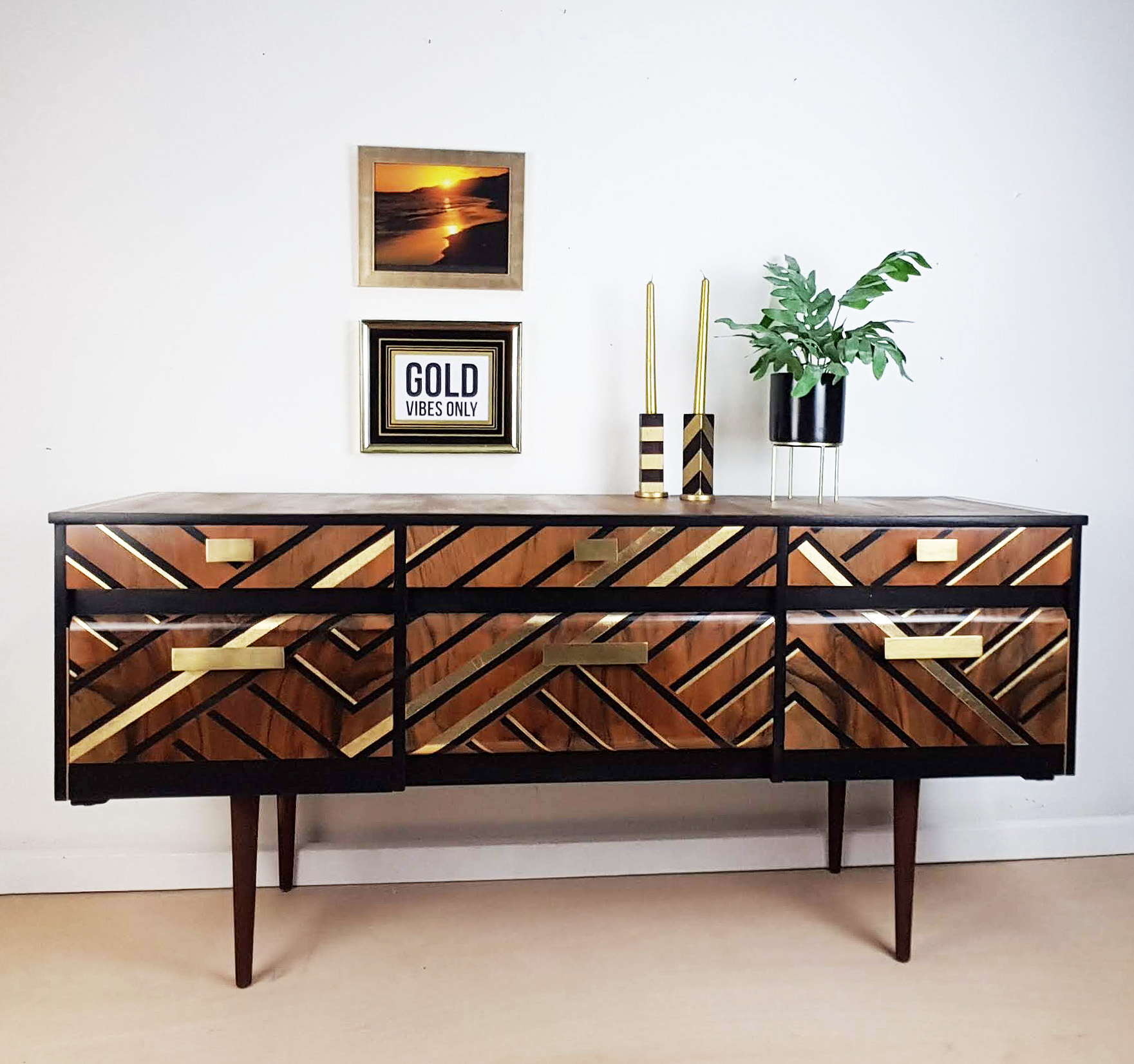 The House of Upcycling: Done Up North Upcycled Vintage Sideboard with Black & Gold Geometric Surface Design