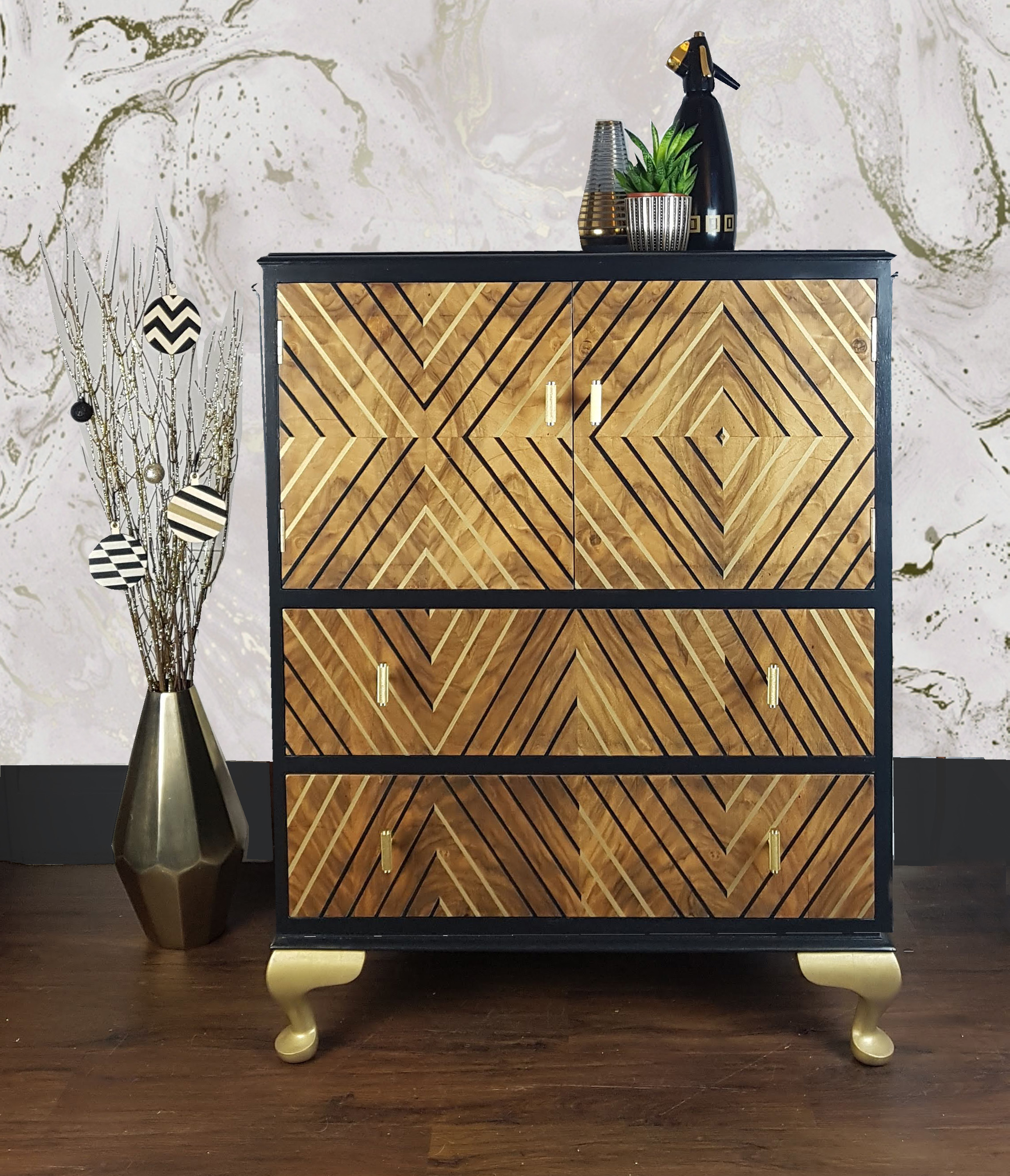 The House of Upcycling: Done Up North Refinished Vintage Drinks Cabinet with Black & Gold Surface Design