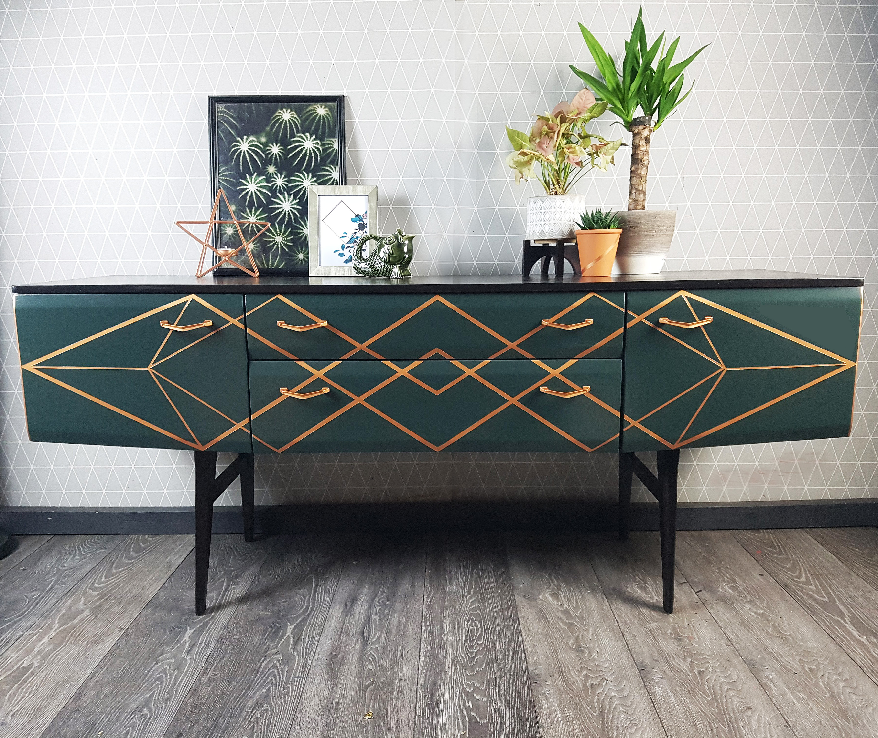 The House of Upcycling: Done Up North Vintage Sideboard in Green with Copper Surface Design