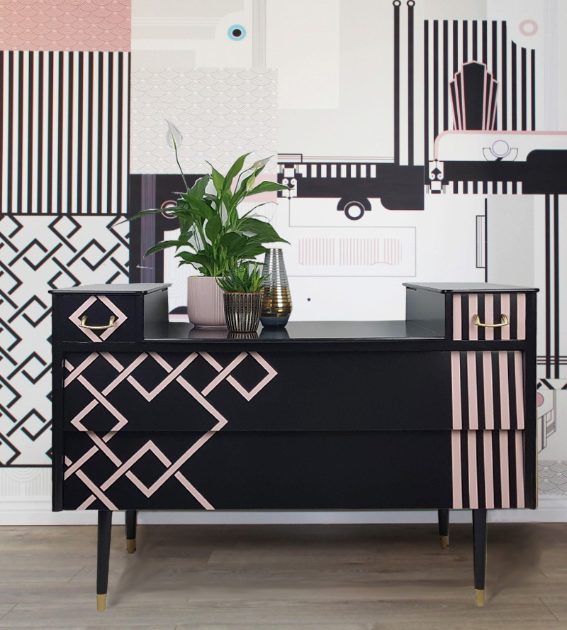 The House of Upcycling: Upcycled Vintage Sideboard in Pink & Black