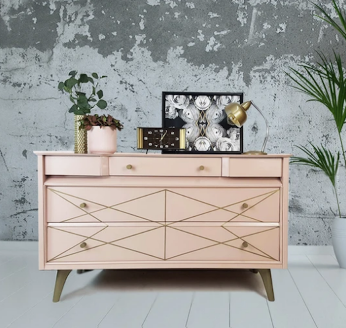 The House of Upcycling: Done Up North Pink & Gold Vintage Sideboard