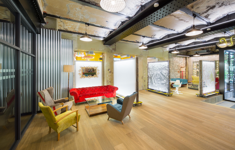 Fumed Oak engineered wood flooring in an office