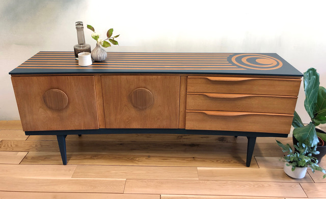 The House of Upcycling: Roc Studio Renovated GPlan Sideboard with Geometric Surface Design