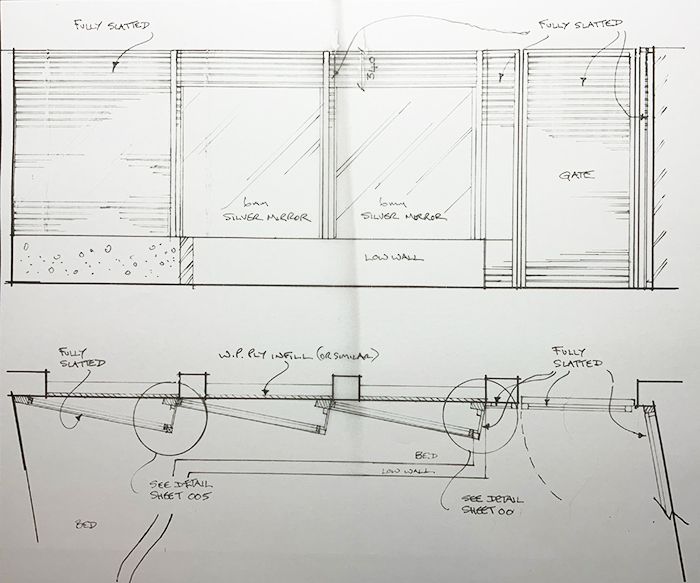 Garden Courtyard Fencing plan and elevations