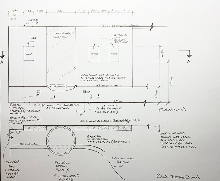 Garden Courtyard Plan and Elevation