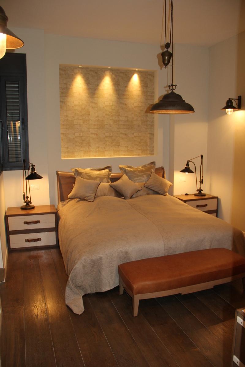 Bedroom with Italian copper lights