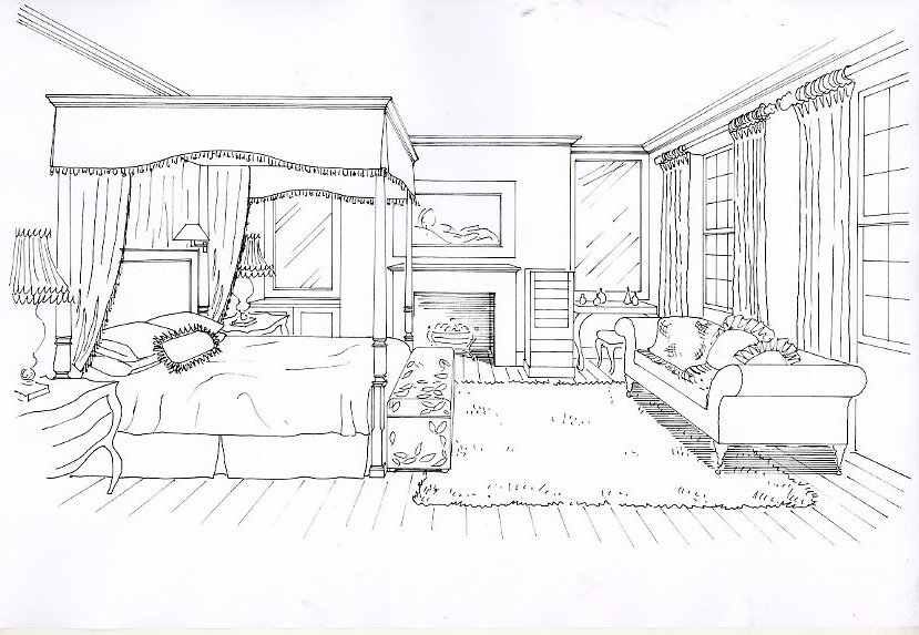 Hotel bedroom drawing by Giulia Adams