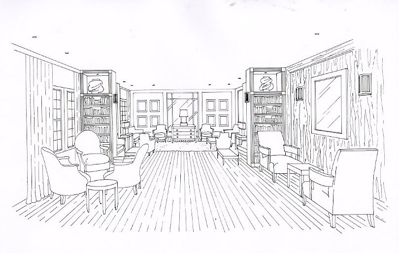Hotel lobby drawing by Giulia Adams