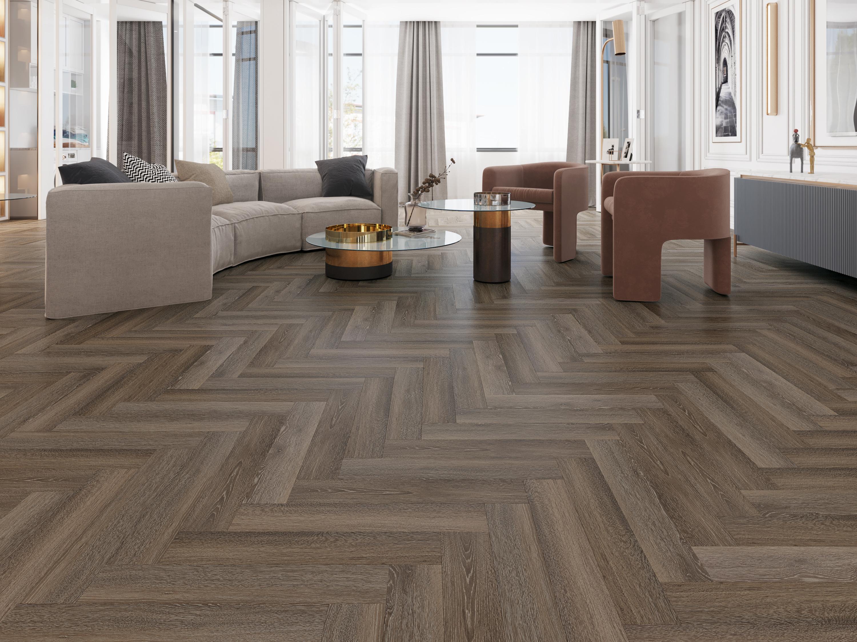 Impervia Herringbone Parquet flooring Cobble Grey Oak