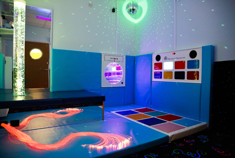 The Sensory room uses light, sound and a wide range of specialised equipment designed to create an environment that is calming and relaxing for the user. It encourages interaction with equipment giving children the opportunity to explore cause and effect.