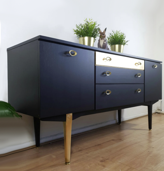 The House of Upcycling: Lollipop Interiors Black & Gold Mid Century Sideboard