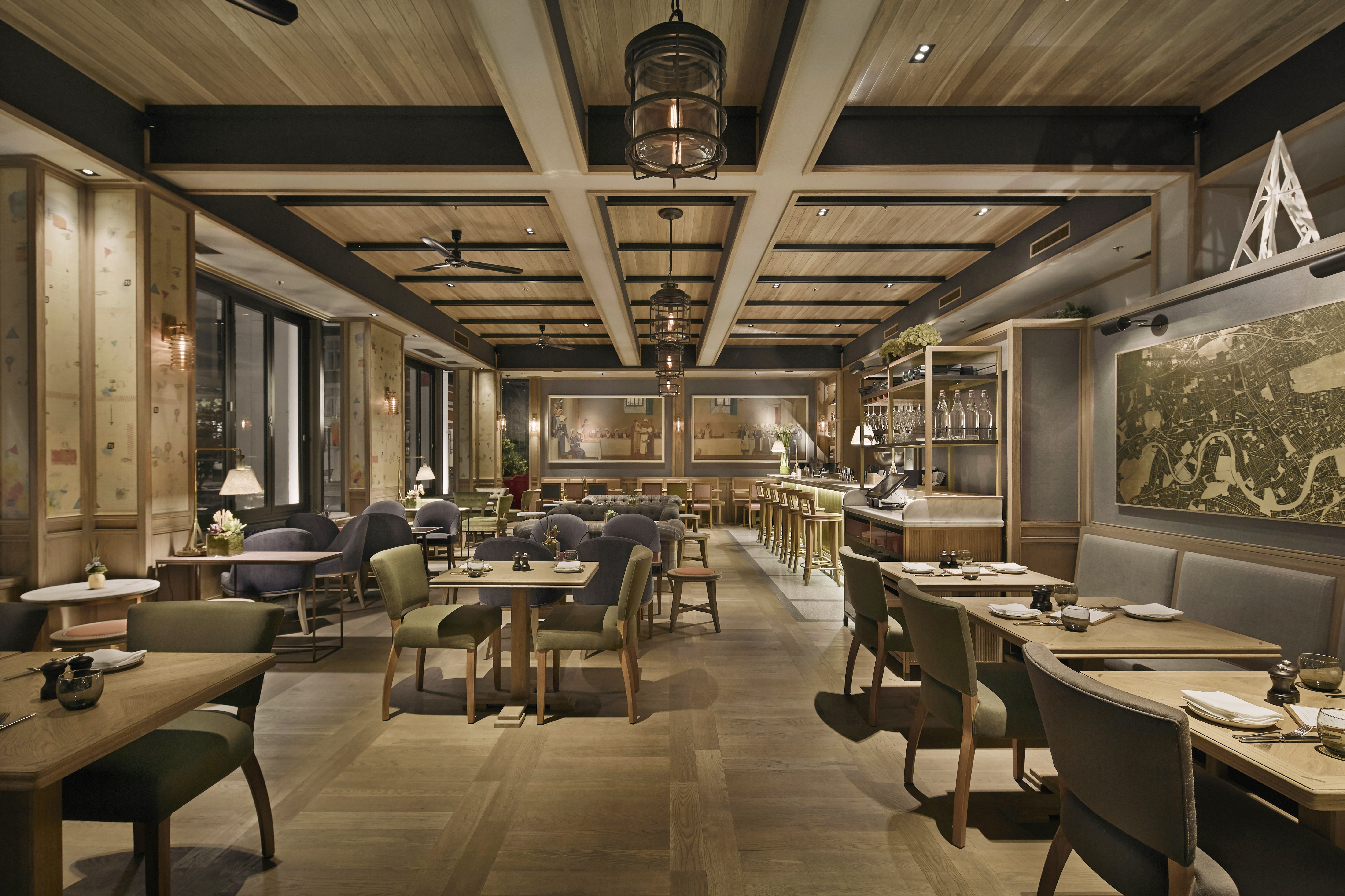 Fumed Parquet fitted in Percy & Founders Restaurant, London