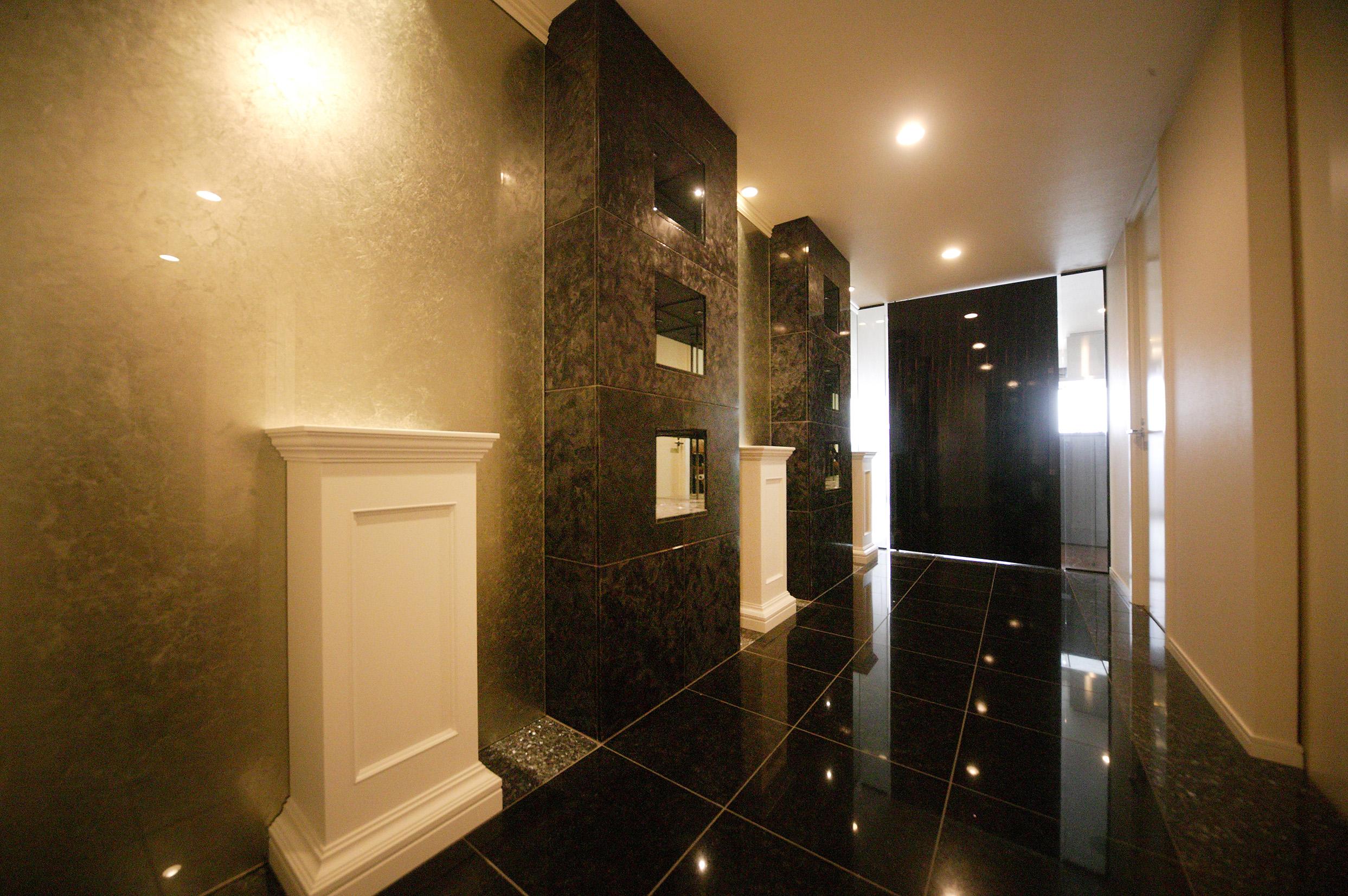 Hallway, Treasure space, Decorative glass, stone