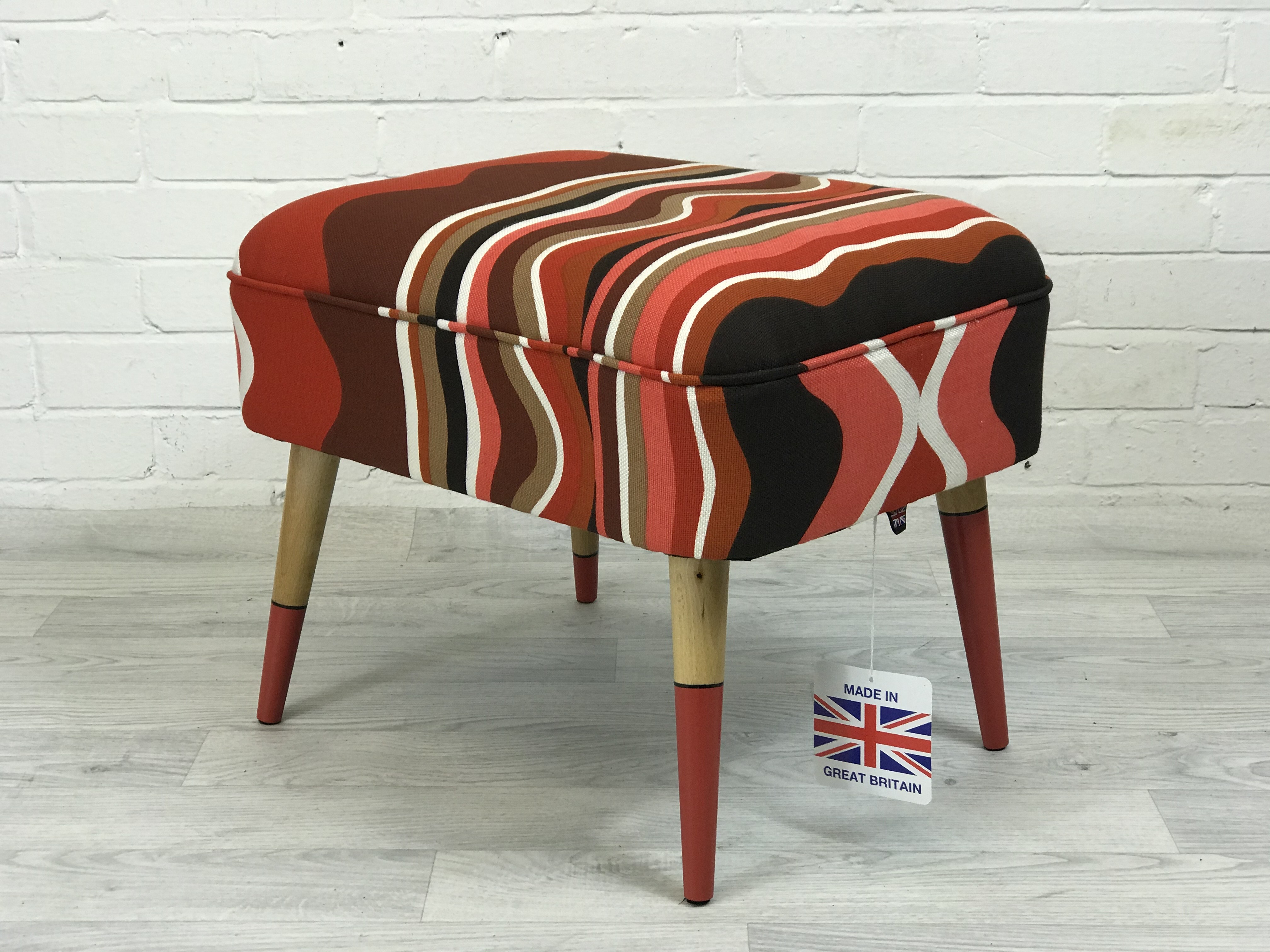 The House of Upcycling: Painted & Upholstered Footstool by Colour Me KT