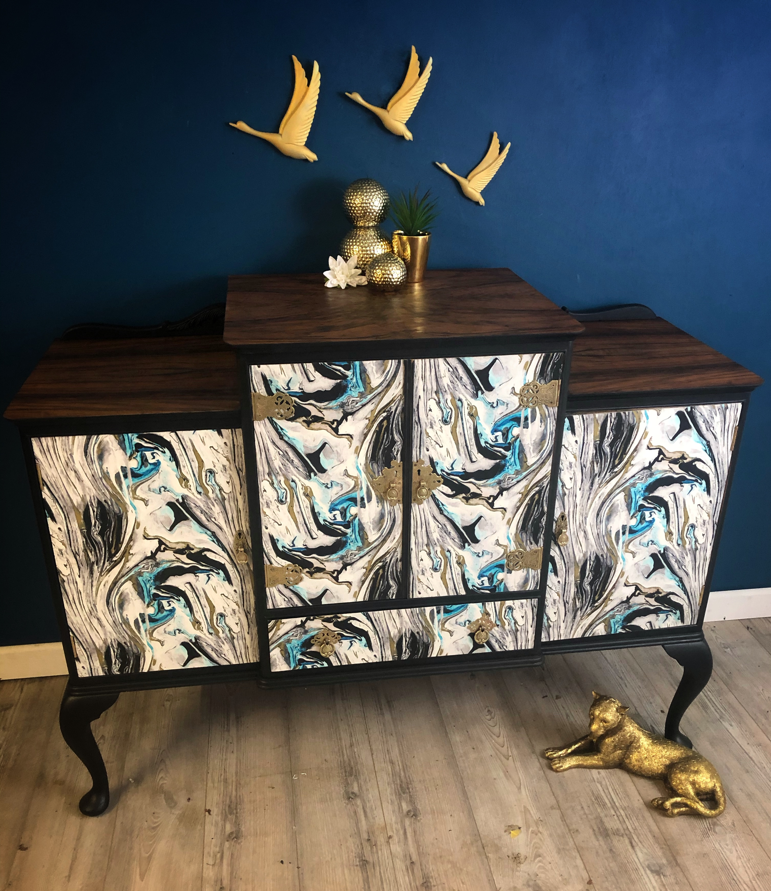 The House of Upcycling: Rag Doll Design Studio Faux Marble Upcycled Sideboard