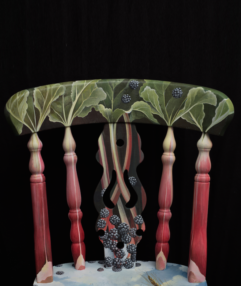 The House of Upcycling: Sue Gifford Design Refurbished Farmhouse Dining Chair with Rhubarb Countryside Hand Painted Design