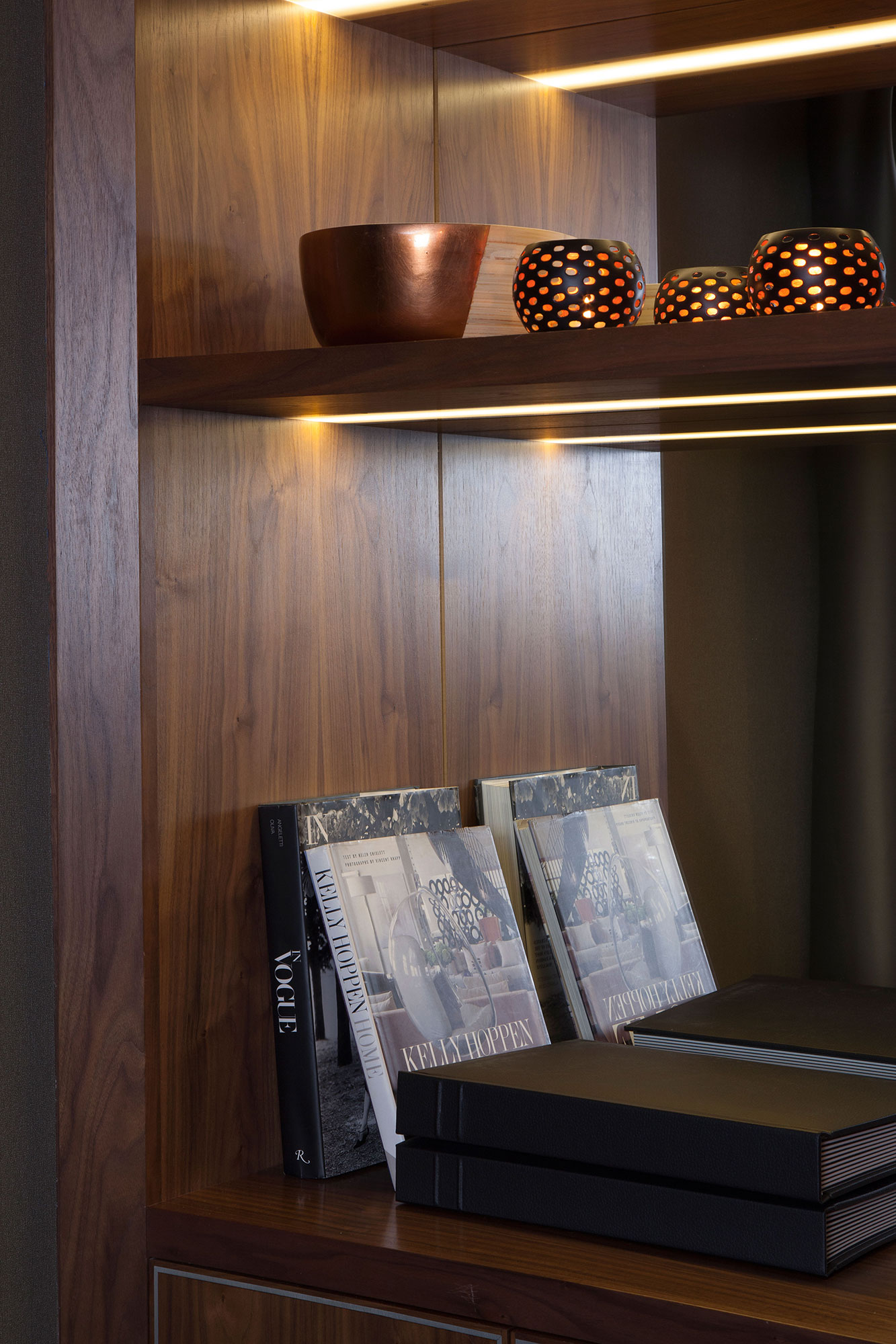 bespoke timber joinery for display of books and objets