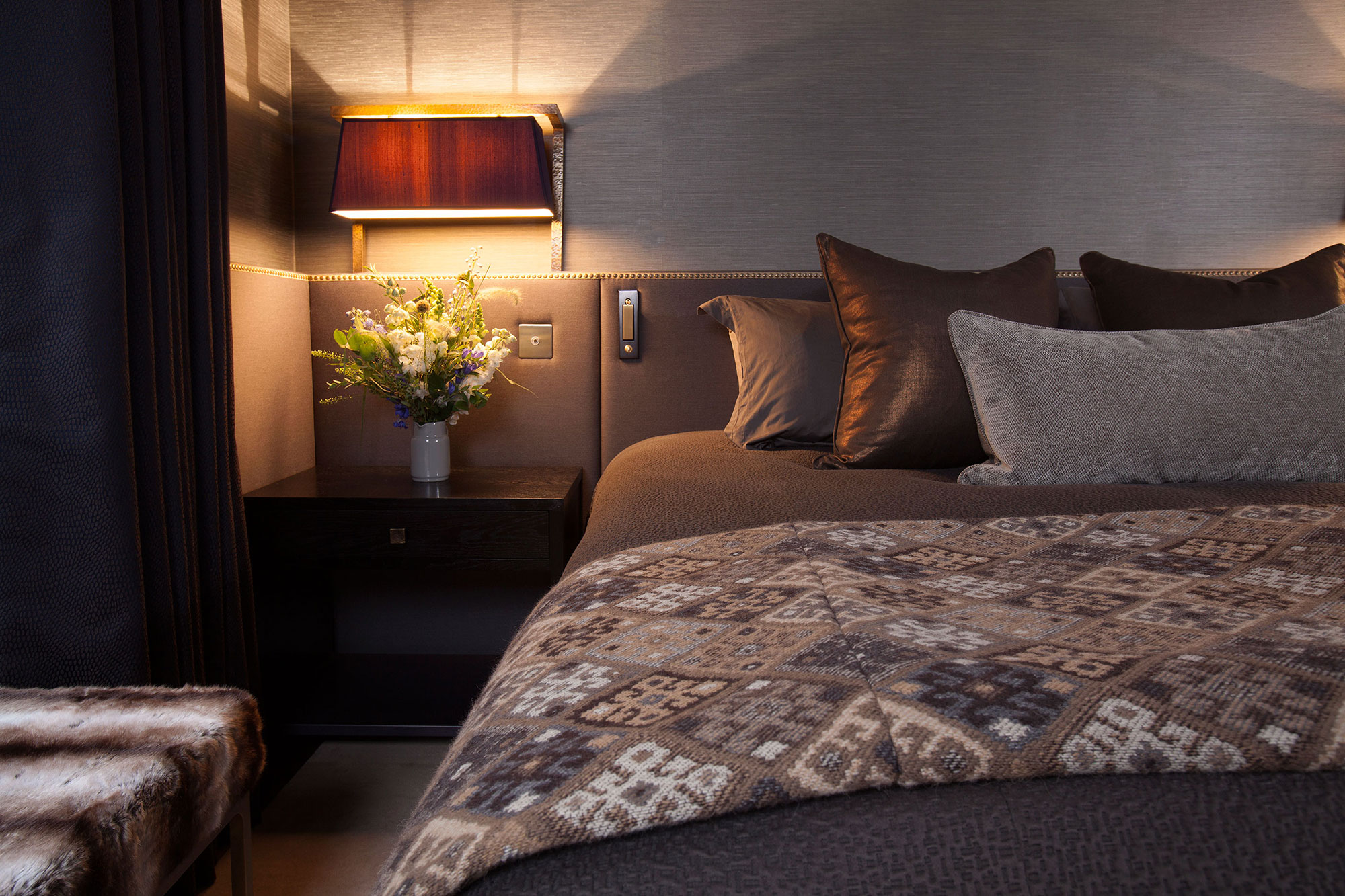 cosy master bedroom with layers of luxurious texture