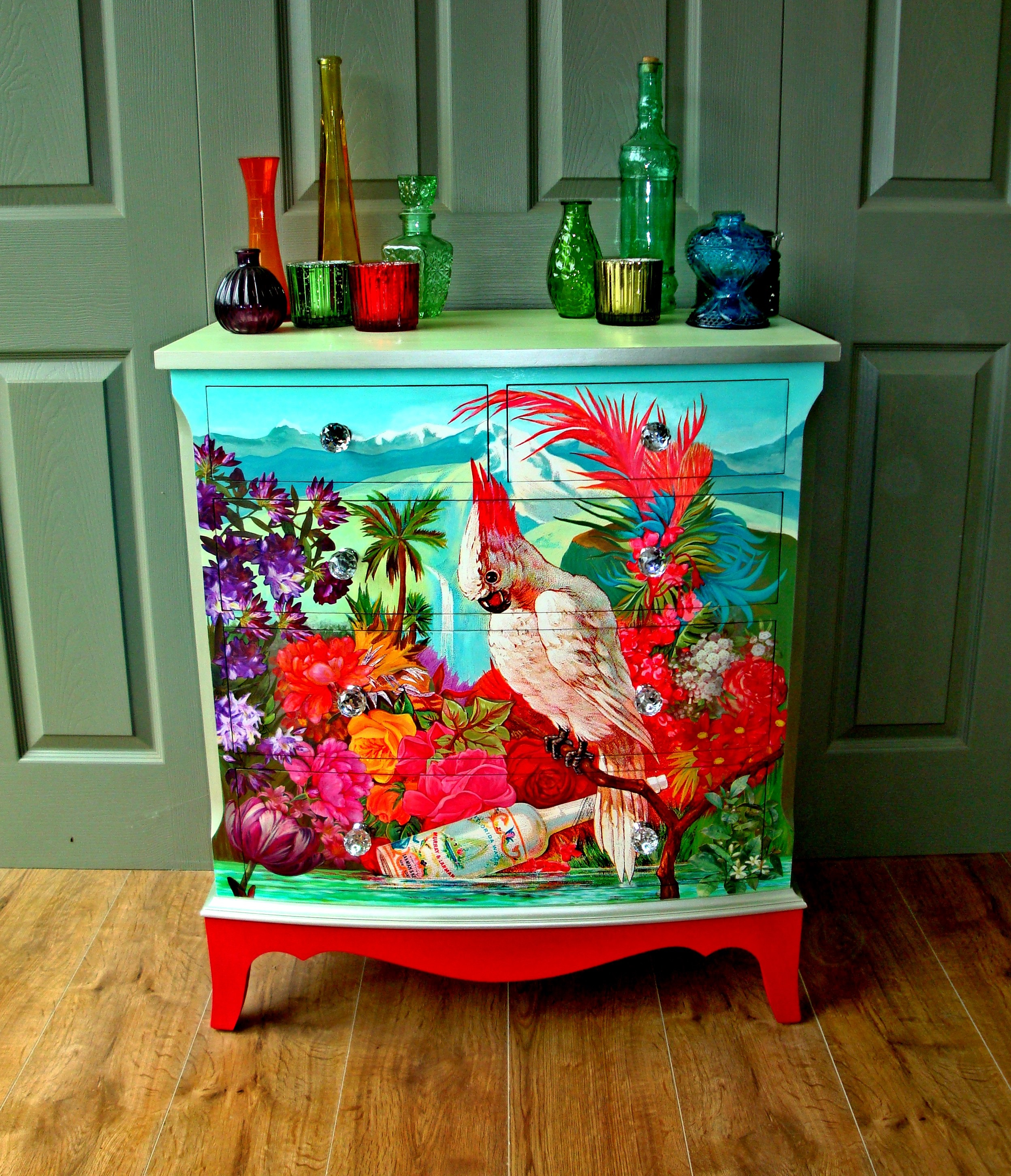 The House of Upcycling: Siren Designs Upcycled Chest of Drawers with Cockatoo Decoupage