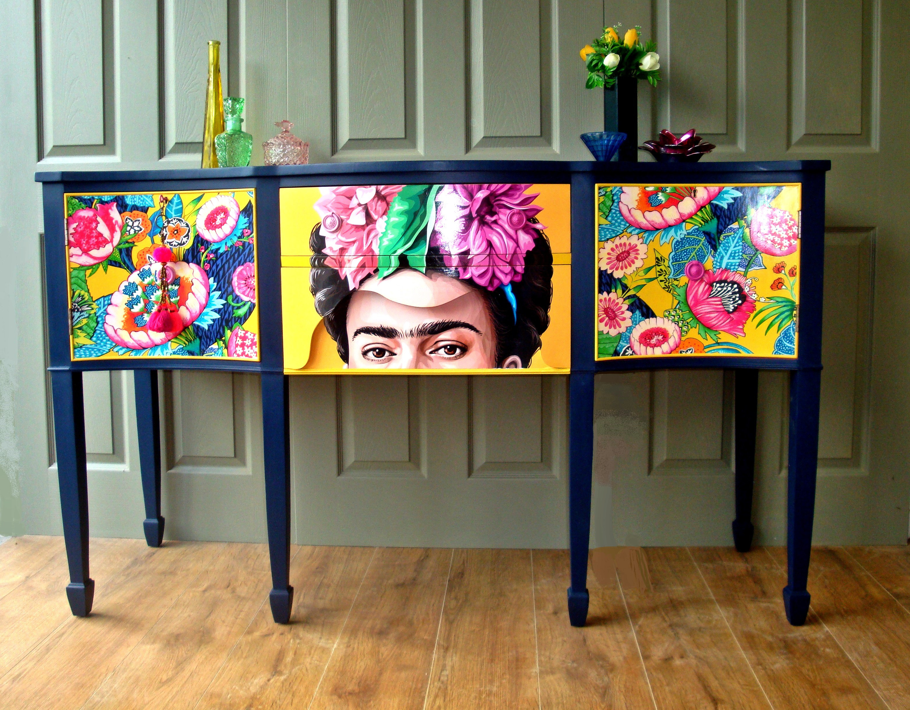 The House of Upcycling: Siren Designs Upcycled Sideboard with Frida Kahlo Surface Design