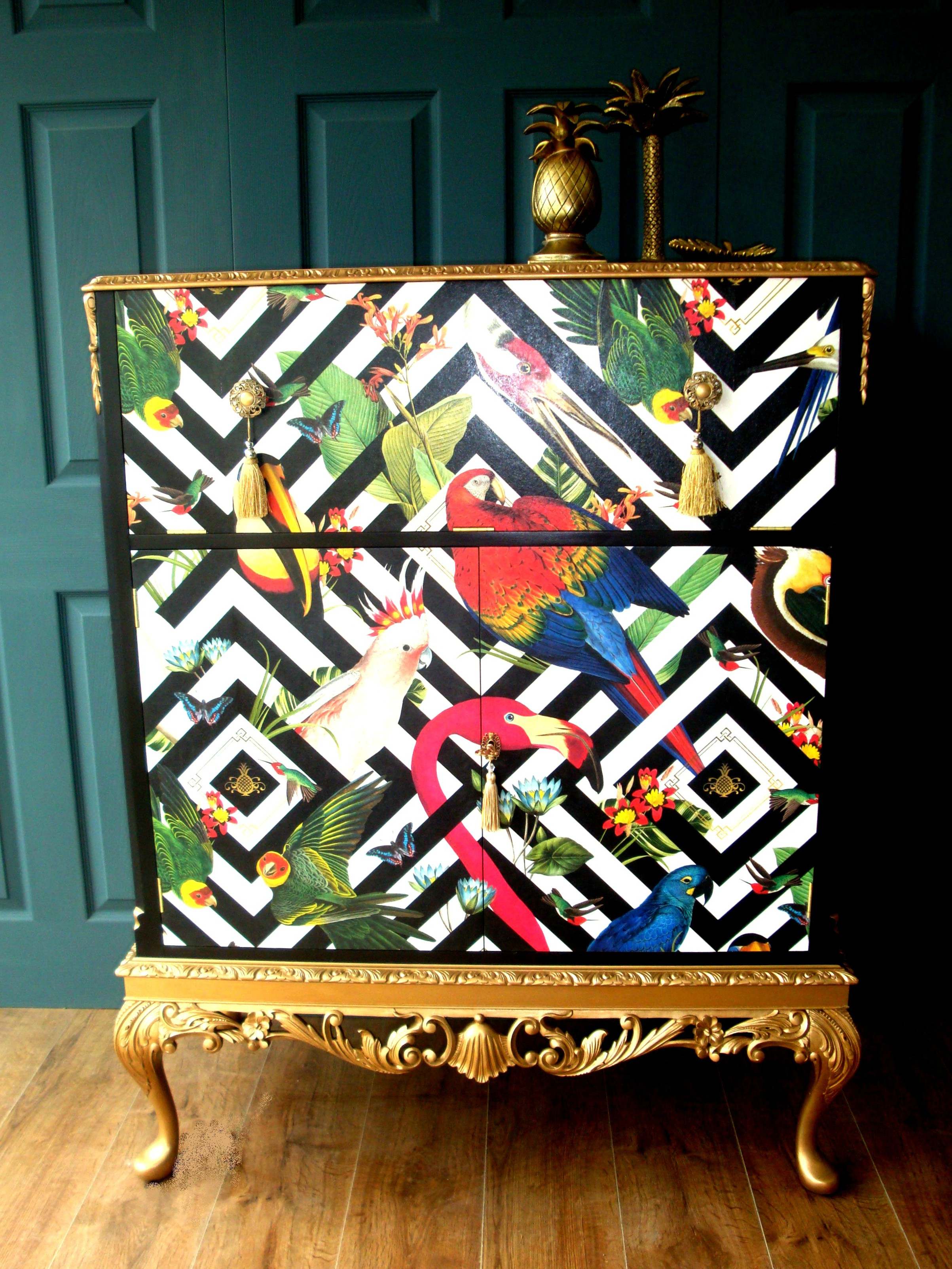 The House of Upcycling: Siren Designs Decoupaged Cocktail Cabinet
