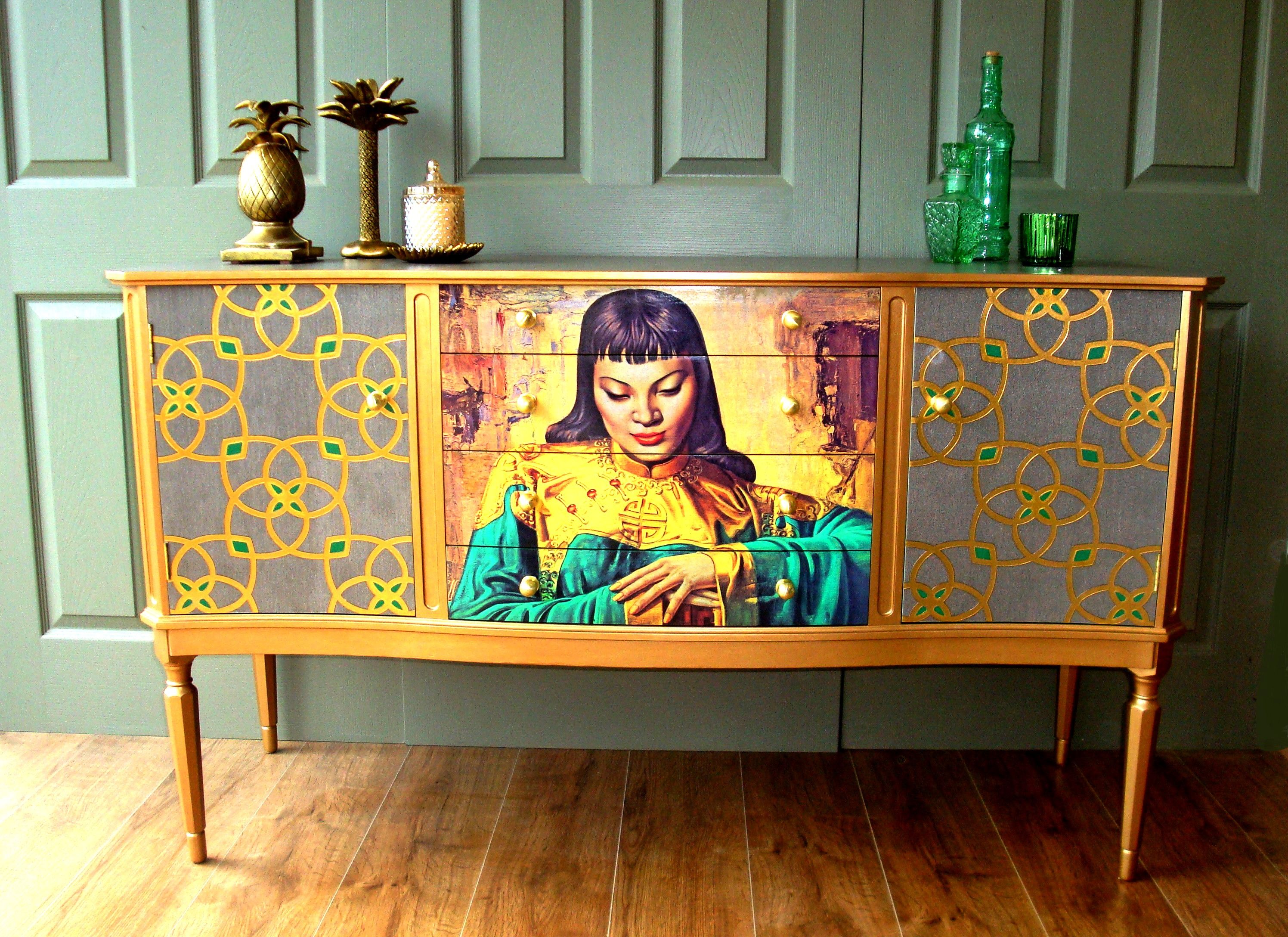 The House of Upcycling: Siren Designs Tretchikoff Decoupaged Vintage Sideboard