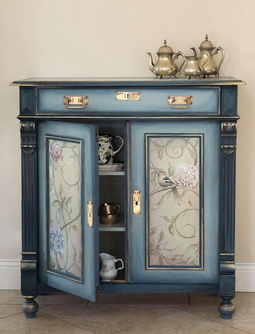 The House of Upcycling: Sue Gifford Design Refurbished Vintage Cabinet with Countryside with Hare Design