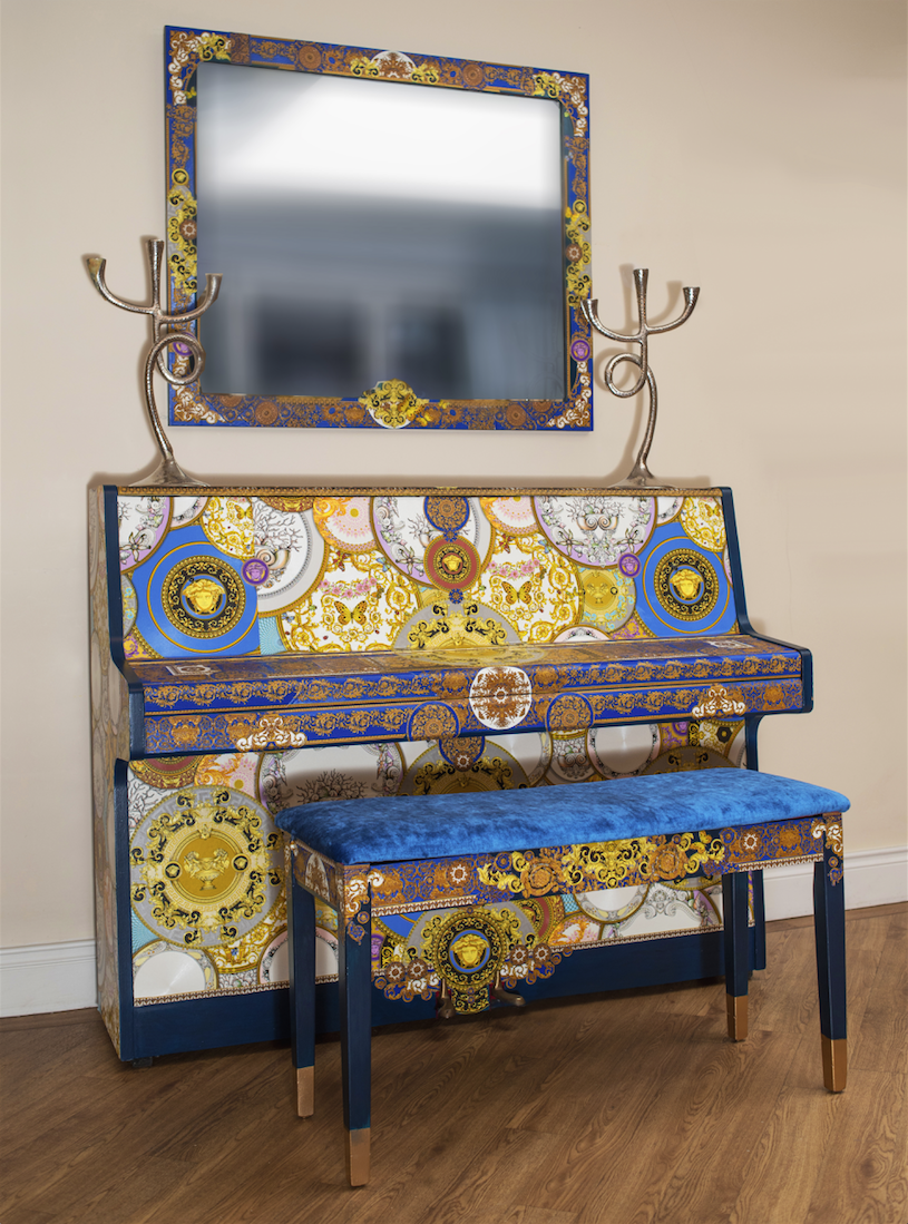 The House of Upcycling: Sue Gifford Design Versace Decoupage Piano & Stool