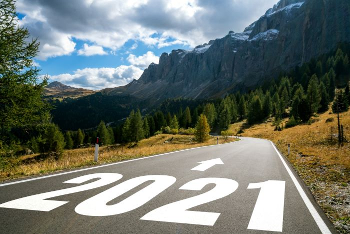 2021 on a road near trees