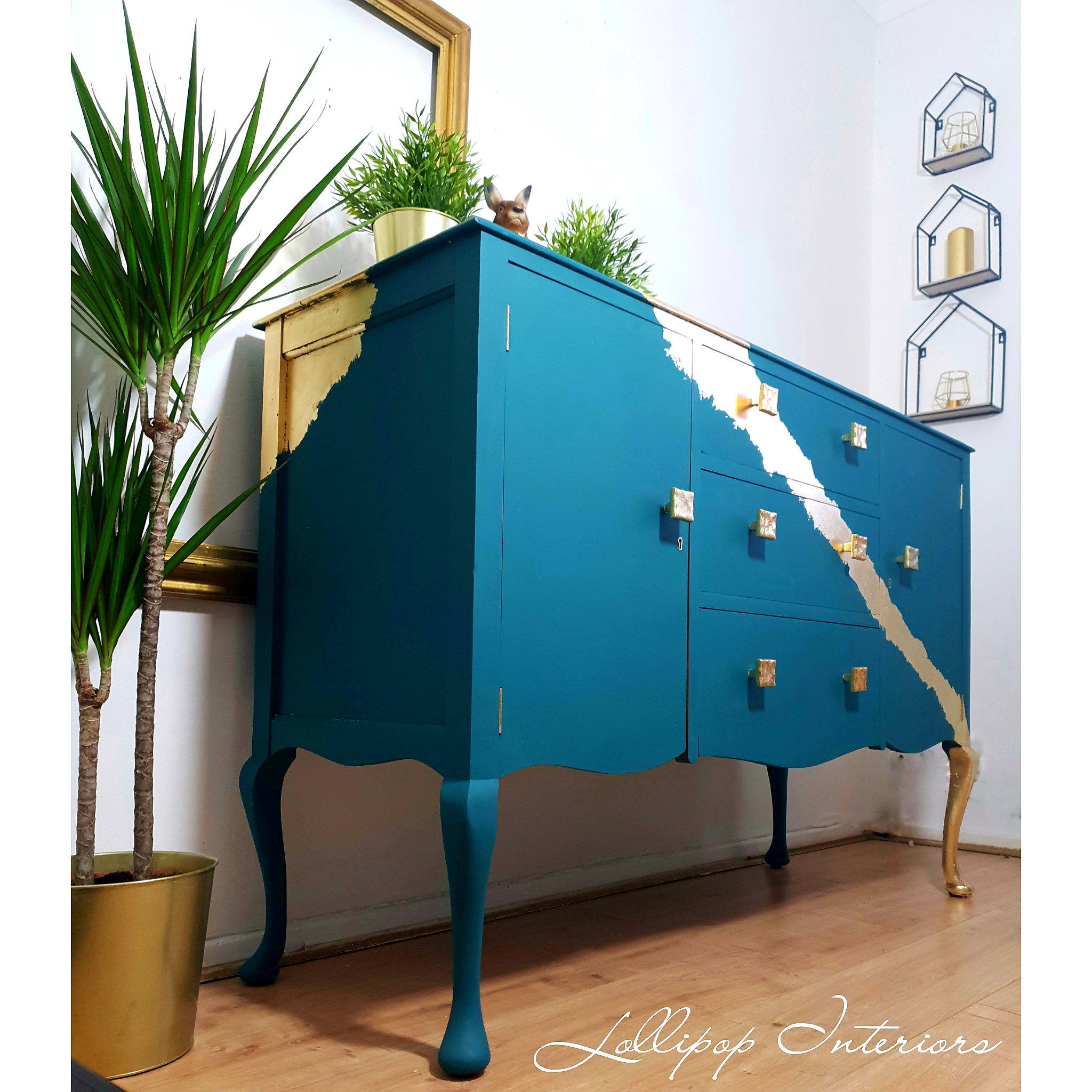 The House of Upcycling: Lollipop Interiors Refinished Sideboard in Teal & Gold
