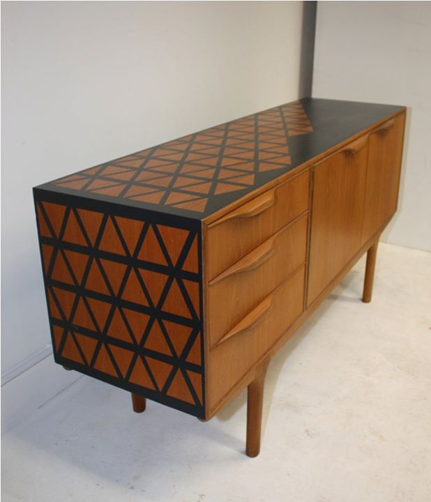 The House of Upcycling: Roc Studio Retro Sideboard with Geometric Surface Design