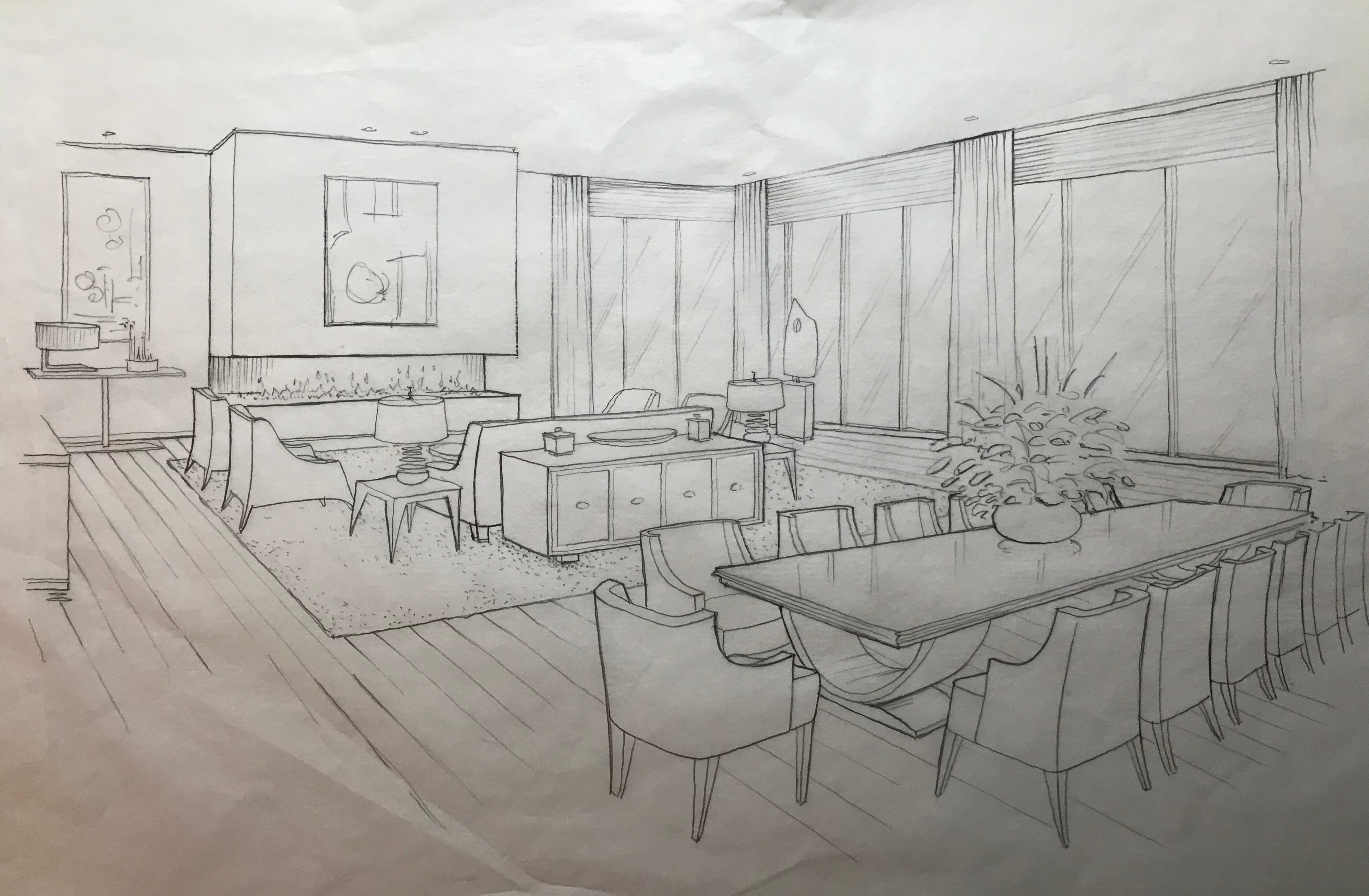 Villa living area sketch