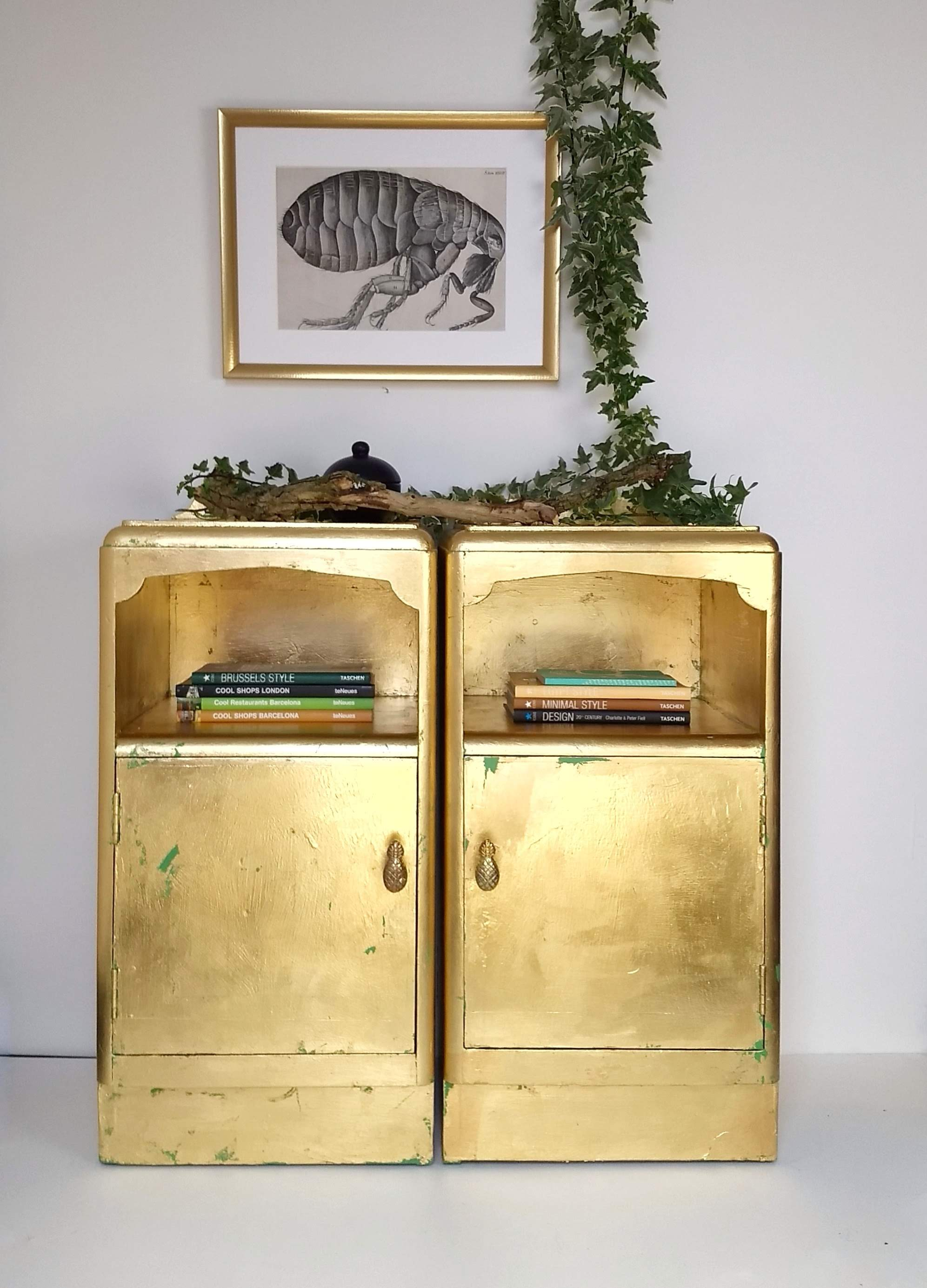 The House of Upcycling: Webb & Gray Vintage Side Cabinets Refinished in Gold
