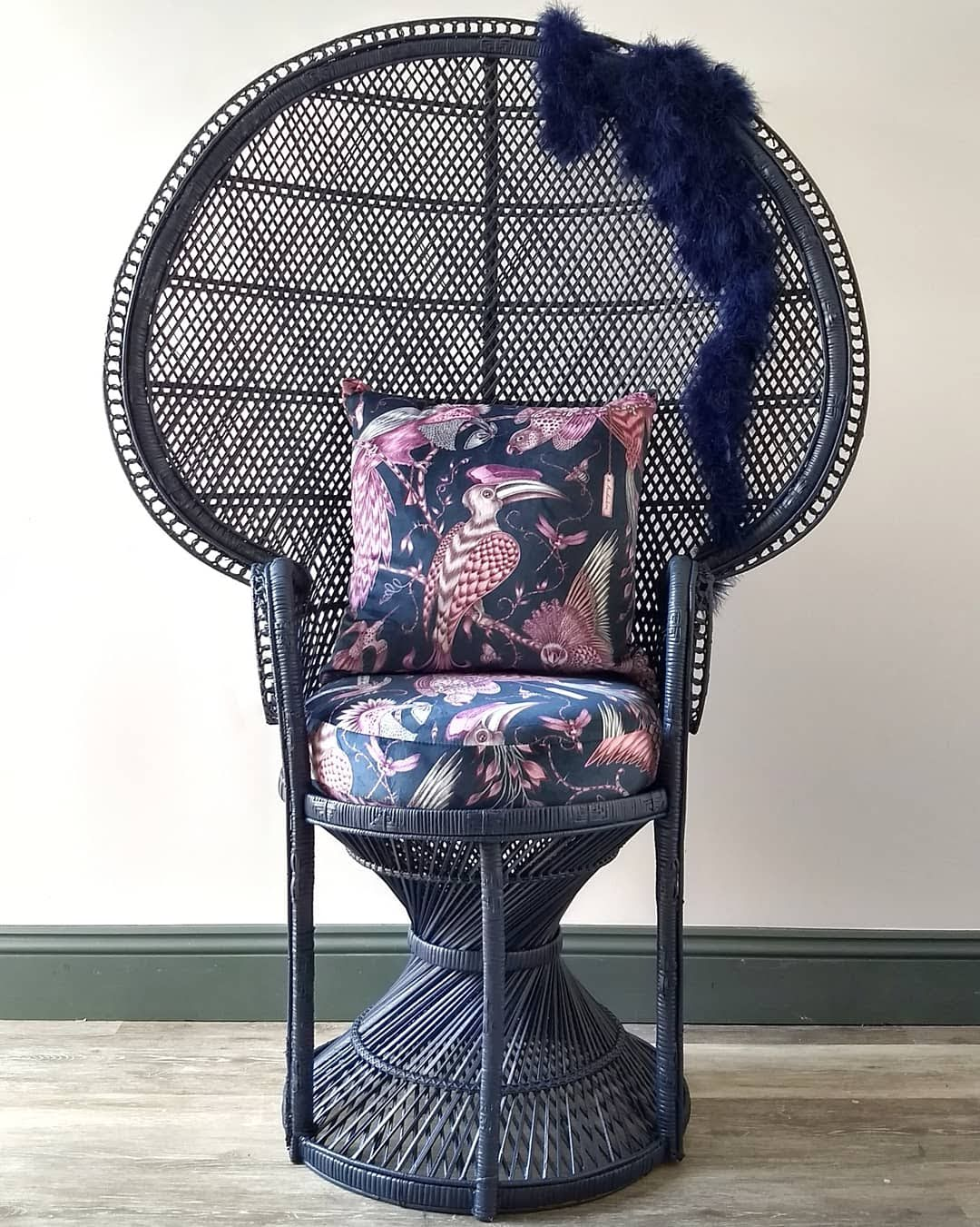 The House of Upcycling: Webb & Gray Hand Painted Vintage Rattan Peacock Chair