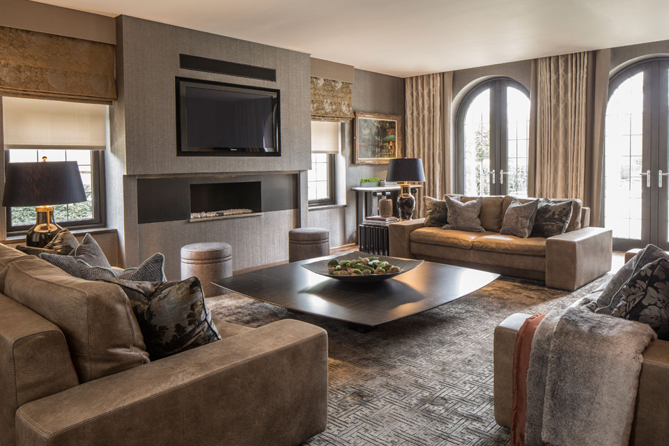 Layering and texture feature prominently in the formal living room of our elegant Broad Walk family home