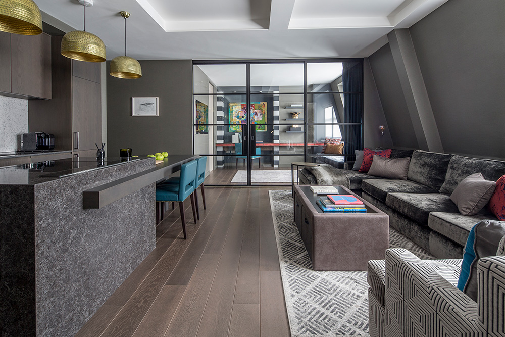 luxurious penthouse apartment with open plan living area
