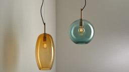 Ceiling handblown glass pendant lights that blend traditional bohemian glassmaking with modern classical design