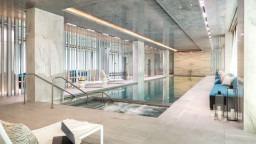 Landmark Place Pool Area with Bespoke Decorative Laminate Glass Walls