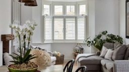 Bay Window Living Room Shutters by Plantation Shutters Ltd in London