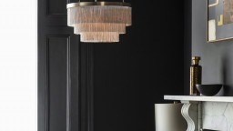 Tigermoth Lighting Silver Chain Chandelier and Surface Table Lamp